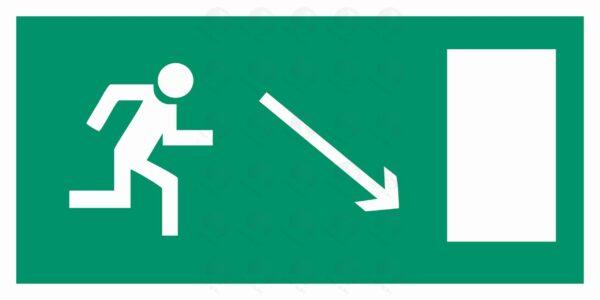 Направление к эвакуационному выходу направо вниз