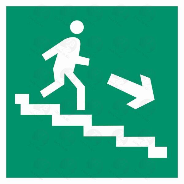 Направление к эвакуационному выходу по лестнице вниз (правый)
